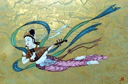 Flying Asparas (Hiten) -- Modern Japanese painting; Also classified as a Tennyo