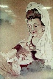 Painting of Guanyin and a child found in the Tzu-chi Foundation Hospital in Hualien, Taiwan. Picture taken January 12, 2003 by Allen Timothy Chang.