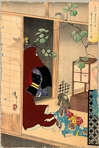 Fox-woman Kuzunoha Leaving Her Child, Ukiyo-e Print by Yasuyoshi, courtesy web.inter.nl.net/hcc/rekius/36ghosts22.htm