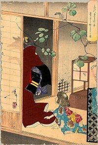 Fox-woman Kuzunoha Leaving Her Child, Ukiyo-e Print by Yasuyoshi, courtesy web.inter.nl.net/hcc/rekius/36ghosts22.htm