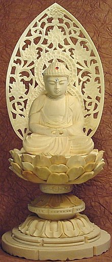 Amida Buddha sitting atop a lotus -- available for online purchase
