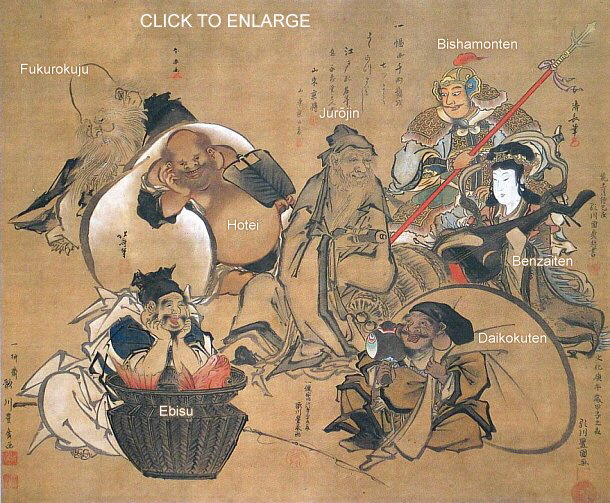Japan's Seven Lucky Gods (by Hokusai, Utagawa, Others)