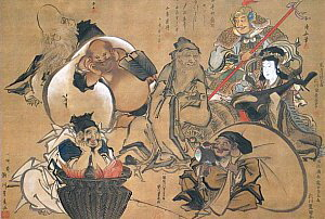 Seven Lucky Gods, 19th Century Japanese Painting