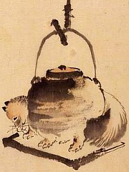 Tanuki turning into tea kettle, or tea kettle turning into Tanuki
