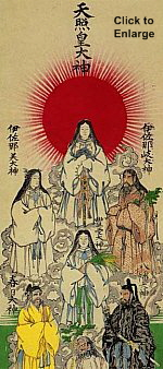 Amaterasu bringing light to the world. Along with Izanagi, Izanami, and other creator gods of Japanese mythology. 19th century. Private Collection..