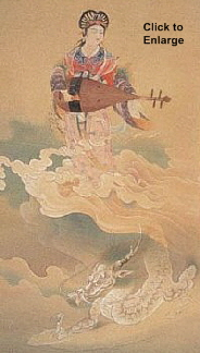 Benzaiten atop Dragon. Painting by Shimomura Kanzan.