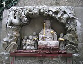 Benten with 15 Disciples and Dragon at Enoshima, Modern, Stone