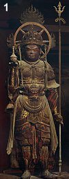 Bishamonten, 11th century (1078), Horyuji Temple (Nara), Wood with pigments, H = 123.2 cm. National Treasure.