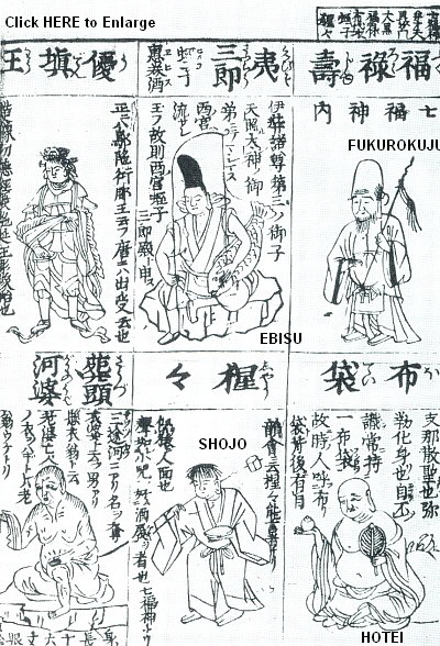 Four of the Seven Lucky Deities in the 1690 Butsuzo-zui