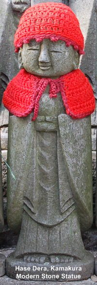 Hase Dera, Kamakura - Stone Statue of Jizo Decked in Red Clothing