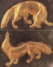Closeup of Fox-like creatures, parcel-gilt silver dish, China, 8th Century CE.