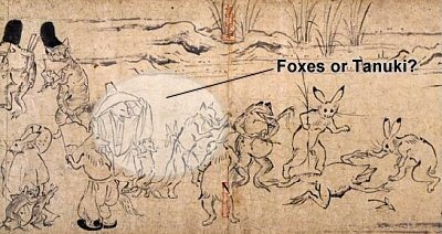 Frolicking Animals, Fox, Rabbit, Tanuki