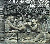 Cula-Nandiya Jataka -- Monkey sacrifices himself for mother.