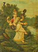 Sarasvati playing biwa, peacock at her side. By Indian artist Raja Ravi Varma.