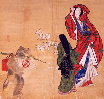 Scroll Painting, late 19th century. Tanuki disturbs tranquility of two beauties viewing cherry blossoms.