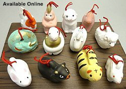 Modern ceramic statuettes of the 12 Zodiac Animals; courtesy of http://shoindo.com/?pid=19116855