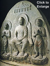 Buddha Triad, Stone, Sansonzo, Ishiidera Temple, Nara, Late 7C, photo by Ogawa Kouzou
