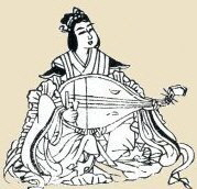 Benzaiten playing biwa, the most common form of the deity in Japan. Line Drawing, 1783, Butsuzo-zu-i