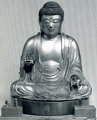 Small model of Kyoto Daibutsu (Big Buddha of Kyoto) by sculptor Genshin