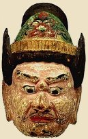 Tamonten (Bishamonten) - Mask photo courtesy of Kyoto National Museum, Heian Period