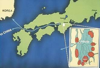 Map showing ocean route from Korea and China into early Japan