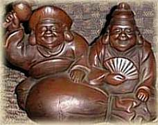 Daikoku at left, Ebisu at Right; Meiji Period Bizen Ceramic