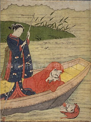 Daruma looking at his reflection in the water, riding in boat with courtesan