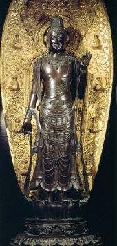 Sho Kannon, Gilt Black Bronze