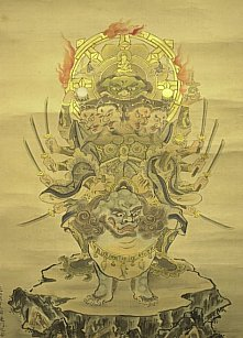 Tobatsu Bishamon. Four Heads, 12 Arms, Mounted on Lion.