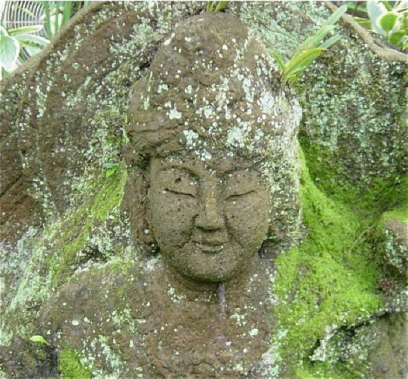 CLOSEUP - Stone Fugen Statue in Private Garden, Kamakura