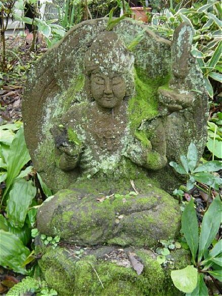 Stone Fugen Statue in Private Garden, Kamakura
