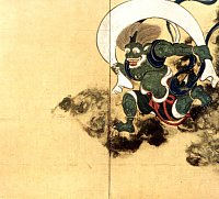 Fujin (Wind God), painting by Tawaraya Sotatsu, Right Panel, Edo Era, Kennin-ji Temple in Kyoto