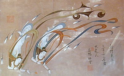 Flying Asparas, Tonko, DunHuang, in the collection of Gabi Greve