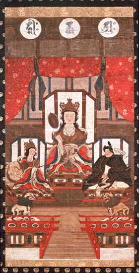 Scroll Painting, Kamakura Period, Three Deities of Hakusan Mountains