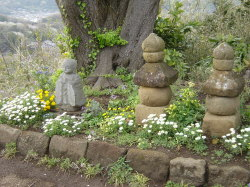 Jizo Bosatsu and Stone Markers, Kinubariyama Hiking Trail, Kamakura April 2004