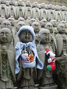 Jizo Statues at Hase Dera in Kamakura, Japan