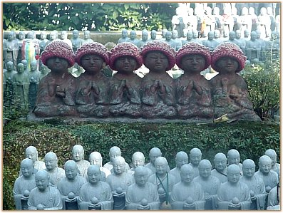 Roku Jizo - Six Jizo Statues, One for Each of the Six States of Existence, Hase Dera in Kamakura