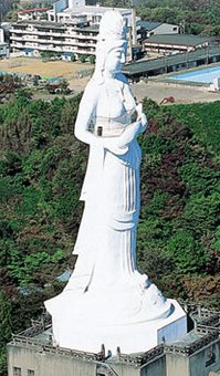 Kamaishi, Dai-Kannon standing upon Kamazaki Point, overlooking Kamaishi Bay.
