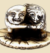 Kappa and Monk Wrestling, Japanese Ivory Netsuke, from Trocadero store run by 2EZR