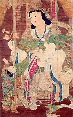 Modern reproduction of painting of Kariteimo at Daigoji Temple