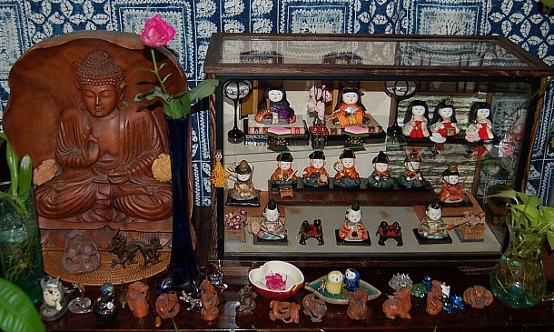 Doll Collection of Keiko (Kamioka) Schumacher; shown aside Buddha statues and small netsuke