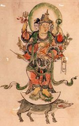 3-Headed Marishiten (Marici) Painting, Standing atop boar, Koyasan