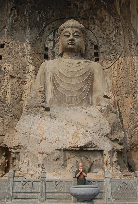Stone carving of Vairocana Buddha (aka Dainichi Nyorai), Fengxian Temple in China.
