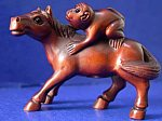 Monkey riding Horse, Courtesy rubylane.com, Japanese Netsuke