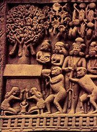 monkey offering honey to Buddha, 50BC, Sanchi, India