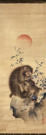 Monkey painting by Japanese Artist Mori Sosen, Edo Era, at the British Museum