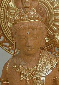 Statue with kirikane (gold leaf)