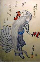 9-tailed-fox-woodblock-by-yoshikuni