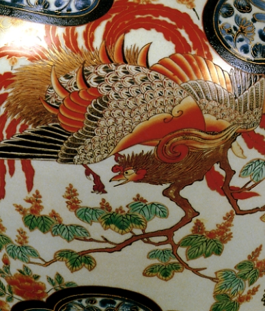 Phoenix, Image from Imari Porcelain ware, photo courtsesy Nihon Toji Taikei, Vol. 19 (Imari Ware)