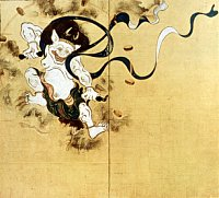 Raijin (Thunder God), painting by Tawaraya Sotatsu, Left Panel, Edo Era, Kennin-ji Temple in Kyoto